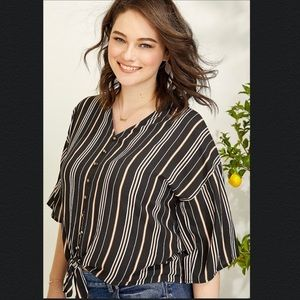Maurice's Striped Button Front Knotted Top XS